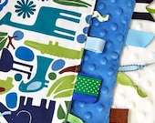 Baby Boy Tag Blanket Sensory Lovey -  2D Zoo Animals with Blue Minky