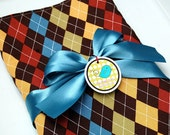 Baby Boy Blanket with Blue Minky - Argyle