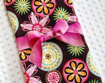 Baby Girl Blanket, Toddler Blankets, Carnival Bloom with Pink Minky