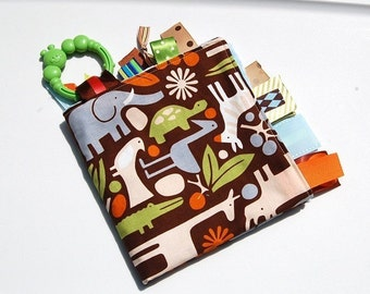 Tag Blanket Baby Boy -  2D Zoo Brown with Minky