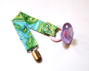 Pacifier Clip -  Boy or Girl - Green and Yellow Paisley