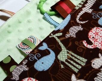 Baby Boy Tag Blanket - Ribbon Blanket - Sensory Lovey - Trendy Zoo Animals