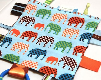 Mini Tag Blanket - Ribbon Blanket - Boy Blanket - Blue Elephants