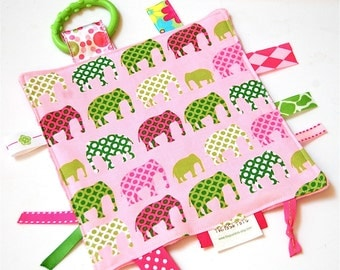 Tag Blanket - Baby Girl Blanket with Ribbon Tags - Pink and Green Elephants