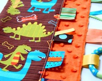 Ribbon Tag Blanket Lovey- Dino Dudes- Baby Boy