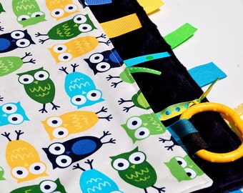Baby Boy Blanket Owl Ribbon Lovey - Owl Zoologie with Your Choice of Minky