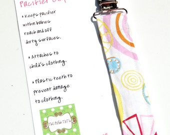 Soothie Pacifier Clip - Baby Girl Paci Holder Candy Shop Swirl