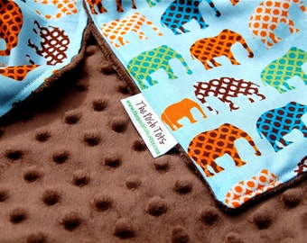 Baby Boy Blanket - Toddler Blanket - Urban Elephants with Your Choice of Minky