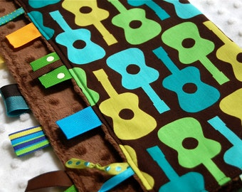 Baby Boy Blanket with Ribbon Tags - Groovy Guitar Lime with Brown Minky