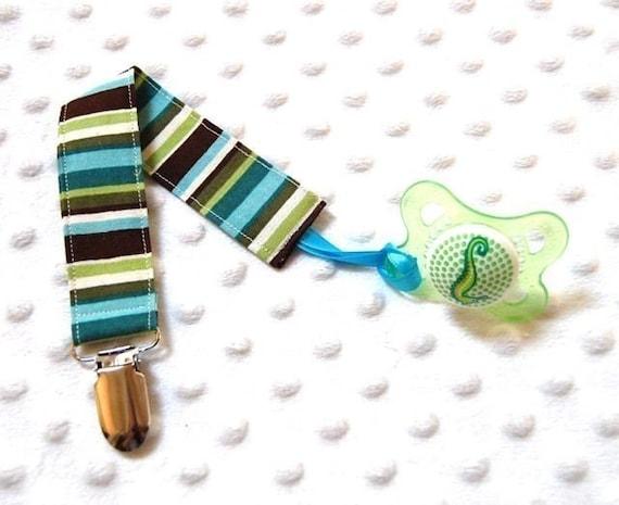 Pacifier Clip Holder- Blue Green Brown Stripe, Soothie, Mam, Nuk, Avent, Gumdrop