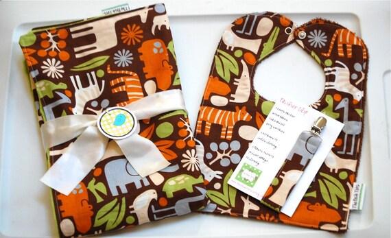 Baby Boy Gift Set - Blanket Bib Pacifier Clip  2D Zoo Animals Brown