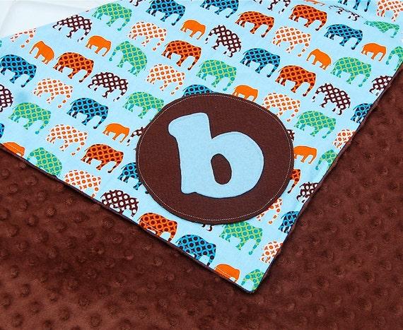 Personalized Baby Boy Blanket - Urban Elephants