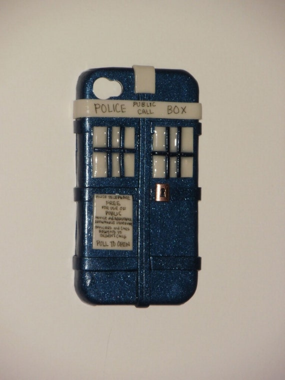 AT&T Doctor Who inspired TARDIS iPhone 4 hard cover case (GLOWS in the dark)