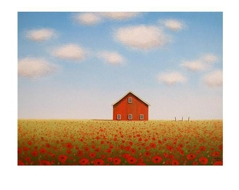 """Red Poppy Farm Print  Old Barn Print 8 x 10"""" Fine Art PRINT Landscape Art from an original painting by S. France  Art Gift Red Barn print"""