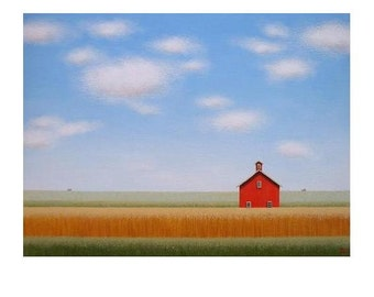 """BARN PRINT 8 X 10"""" from an original painting by S. France  Giclee print Old Red Barn print  Farm Print  Barn Landscape Painting Art Gift"""