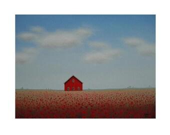 "BARN PRINT  Old Farm Print  8 x 10"" from an original painting by S. France  Red Barn Print Farmhouse Poppy art print Farm Landscape Art Gift"
