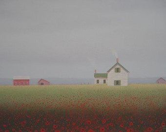 "PRINT Old Farm & Farmhouse Print from a Fine Art painting by S. France 8 x 10"" print  Poppy print Farm art Old Barn Landscape Art Gift"
