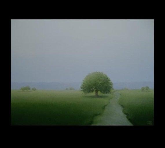 Misty Stream Tree Original Tonalism Landscape Art Painting