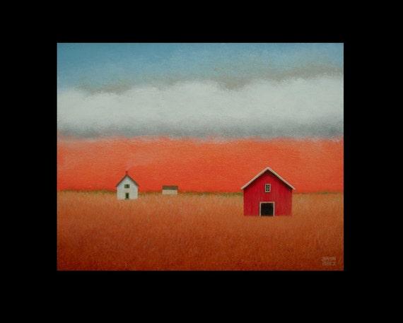 FARM Old  BARN  FARMHOUSE Landscape Original 10 x 8 Fine Art Painting