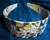 Comic Book Headband - Vintage X-Men - Woven Checkerboard Decoupage
