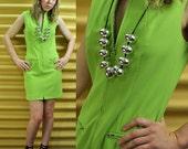 80s dress MOD DRESS - mod mini dress sheath dress w/ zipper front Laundry by Shelli Segal Acid Green XS/S small