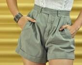 80s High Waist Shorts SAFARI SHORTS - high rise khaki shorts w/ cuffed legs & pleated front S / Small