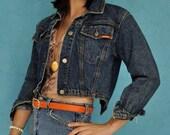 80s DENIM JACKET - tiny fit cropped denim jean jacket w/ unique zipper back XS/S extra small / small