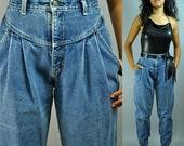 80s super HIGH WAIST jeans - ZENA harem jeans w/ distressed stone wash & pleated drop waist M / Medium