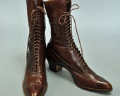 30s vintage lace up ankle boots / Vintage 30s VICTORIAN Boots / Leather Steampunk Granny 8 N