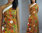 60s MOD maxi dress - retro floral ONE SHOULDER maxi Bohemian Princess dress s/m small / medium