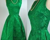 50s PARTY dress - vintage Mad Men EMERALD green dress 50s cocktail dress w/ pleated skirt & fitted bodice xxs/xs extra small