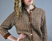 50s cardigan sweater - chunky BOUCLE knitted cropped SWEATER w/ 3/4 length sleeves by Carol Brent xs/s extra small / small