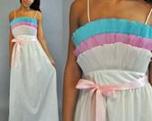 70s maxi PARTY DRESS - Backless vintage prom dress / spaghetti strap evening dress w/ full ruffle bodice S / M Small / Medium