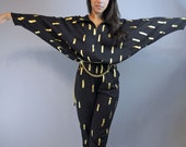 80s womens jumpsuit BLACK JUMPSUIT / Batwing Sleeve DISCO harem jumpsuit w/ Gold Metallic S / M small / medium