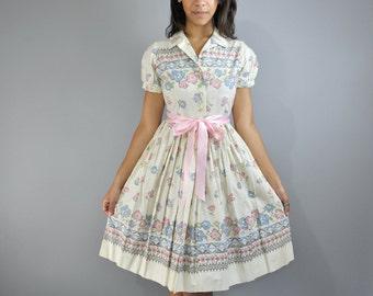 Vintage 50s Dress Cotton Day Dress BETTY BARCLAY Full Skirt Dress Retro Print Shirtwaist Dress Floral 50s Day Dress XS / S
