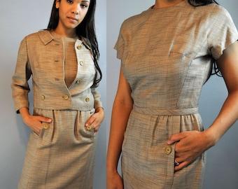 Vintage 50s Dress Suit / Linen Dress & Cropped Jacket / 50s Wiggle Dress Career Suit Mad Men Secretary Dress S / M