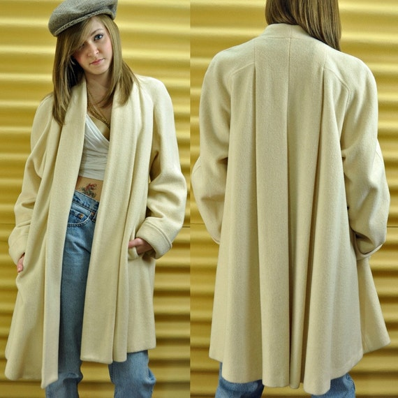 Winter White Wool Swing Coat Vintage 80s Bell Sleeve Knee