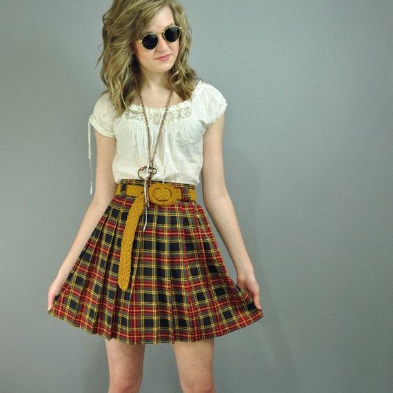 70s pleated skirt FULL SKIRT - Tartan Plaid High Waist Full Pleated Mini Skirt S/M Small / Medium