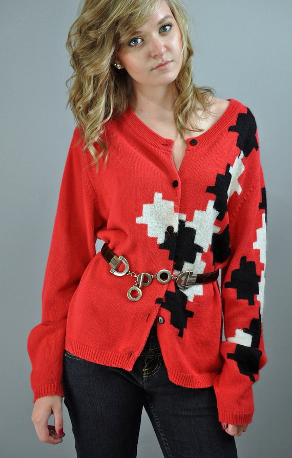 vintage 80s CARDIGAN SWEATER /  womens cardigan sweater w/ artsy geometric puzzle pieces design / red knit sweater S / M