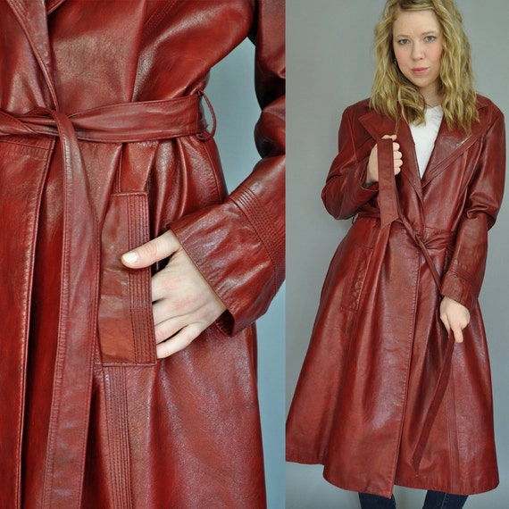 60s Leather Trench Coat Womens Oxblood Leather Coat W Tie