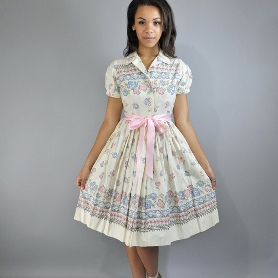Items similar to Vintage 50s Dress Cotton Day Dress BETTY BARCLAY ...