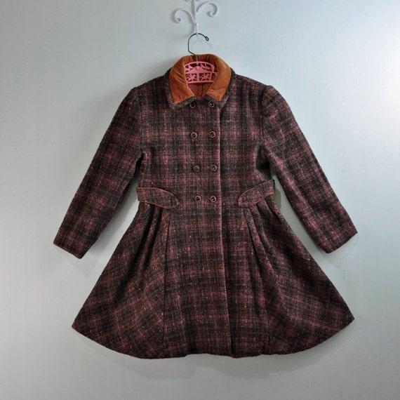 1950s / 50s little GIRLS wool plaid swing COAT - vintage girls steampunk coat w/ velvet collar Size 4 5 6