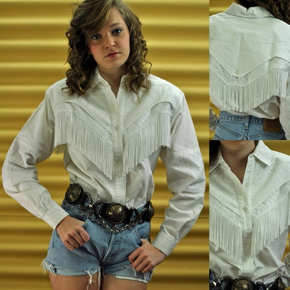 Urban Cowgirl 80s Fringed Western Shirt White Cowgirl Shirt