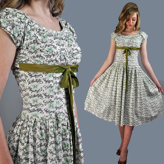 50s DAY dress BUTTERFLY print cotton day dress w/ full skirt & wasp waist xs/s extra small / small