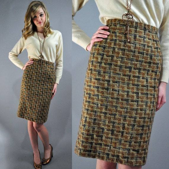 60s high waist skirt - Tami Sophisticates Label earthy plaid skirt / chunky wool PENCIL SKIRT / aline skirt XS/S Extra Small / Small