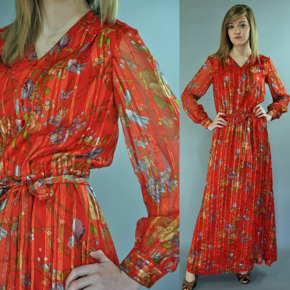 50s Sheer EVENING DRESS - sheer floral maxi party dress w/ sheer balloon sleeves & full flare skirt S / Small