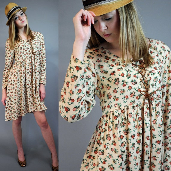 80s bohemian BABYDOLL DRESS earthy calico floral empire dress w/ Slouchy Fit & Lace Up Bodice S/M Small / Medium