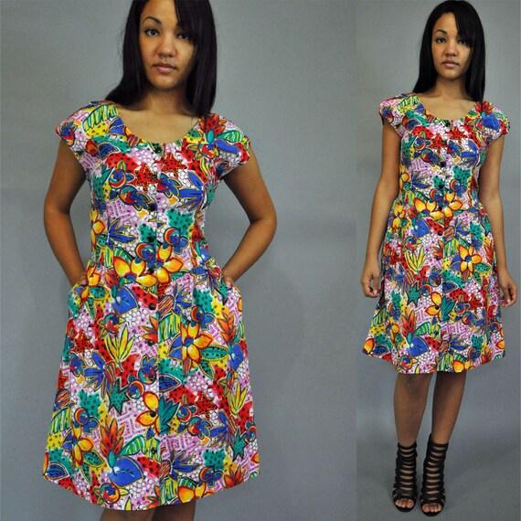 vintage 80s dress floral dress SUN DRESS - bold floral dress w/ flare skirt & drop waist M / Medium