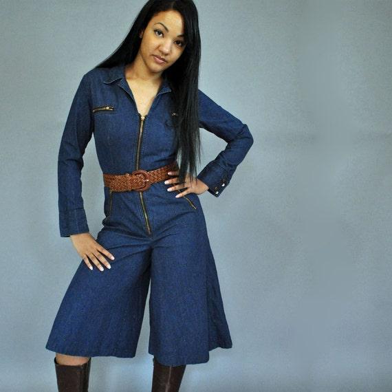 70s jumpsuit gaucho pants jumpsuit denim jumpsuit w knee length