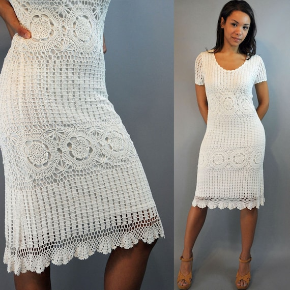 Vintage 80s dress CROCHET Dress / White  Crocheted Lace Dress w/ Open WEAVE Boho Chic XS / S / M